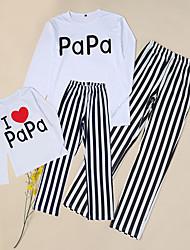 Недорогие -Взрослые Дети Папа и я Активный Классический Повседневные Однотонный Буквы Длинный рукав Длинный Набор одежды Белый