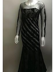 Недорогие -Жен. Элегантный стиль Кружева Русалка Платье - Однотонный, Сетка Макси / Сексуальные платья
