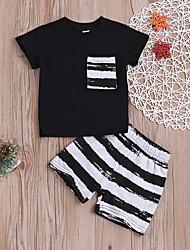 billige -Baby Gutt Fritid / Aktiv Daglig Svart og hvit Stripet Trykt mønster Kortermet Normal Bomull Tøysett Svart
