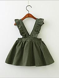 Χαμηλού Κόστους -Νήπιο Κοριτσίστικα Γλυκός / χαριτωμένο στυλ Ριγέ Αμάνικο Φόρεμα Πράσινο του τριφυλλιού