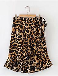 povoljno -ženske do koljena do suknji - leopard print
