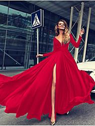 Недорогие -Жен. Для вечеринок Тонкие С летящей юбкой Платье Пэчворк Глубокий V-образный вырез Макси / Сексуальные платья