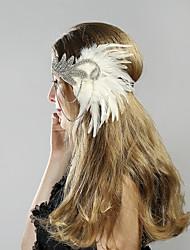Χαμηλού Κόστους -Υπέροχος Γκάτσμπυ Δεκαετία του 1920 Gatsby Στολές Γυναικεία Κορδέλα μαλλιών του 1920 Καλύμματα Κεφαλής Λευκό / Μαύρο Πεπαλαιωμένο Cosplay Πάρτι Χοροεσπερίδα Φεστιβάλ