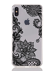 Недорогие -Кейс для Назначение Apple iPhone XS / iPhone XR / iPhone XS Max Прозрачный / С узором Кейс на заднюю панель Кружева Печать / Цветы Мягкий ТПУ