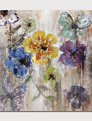 baratos -Pintura a Óleo Pintados à mão - Abstrato Floral / Botânico Modern Incluir moldura interna