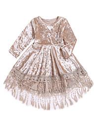 billige -Baby Jente Aktiv / Bohem Daglig Ensfarget Dusk Langermet Asymmetrisk Polyester Kjole Beige
