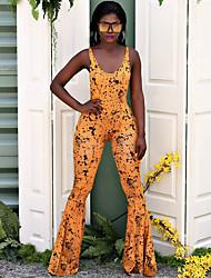 זול -ללא שרוולים XL XXL XXXL דפוס מנוקד, סרבלים רגל רחבה אודם ורוד מסמיק פוקסיה סגנון רחוב בגדי ריקוד נשים