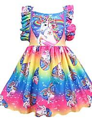 Недорогие -Дети Девочки Активный Праздники Unicorn Пэчворк Плиссировка Без рукавов До колена Платье Цвет радуги