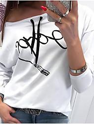 Χαμηλού Κόστους -γυναικεία ασιατικά μεγέθη λινό / βαμβακερό λεπτό μπλουζάκι - γράμματα / συμπαγές χρώμα ένας ώμος