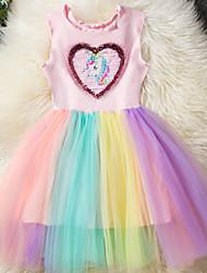 お買い得  -子供 女の子 ベーシック 虹色 / パッチワーク ノースリーブ ドレス ピンク
