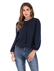 billiga -kvinnors eu / us storlek blus - solidfärgad rund hals