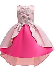 baratos -Infantil / Bébé Para Meninas Activo / Doce Floral / Retalhos Laço / Patchwork / Bordado Sem Manga Algodão / Poliéster Vestido Rosa