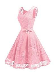 billige -kvinner over kneet en linje kjole v hals vin rosa svart s m l xl
