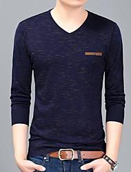 baratos -Homens Camiseta Sólido Decote V