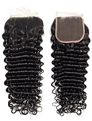 tanie -1 Pakiet Włosy brazylijskie Deep Wave Włosy naturalne remy Akcesoria do peruk Taśma włosów z zamknięciem 8-20 in Kolor naturalny Ludzkie włosy wyplata Prosty Gorąca wyprzedaż Włosy z jedwabną podstawą