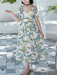 tanie -Dzieci Dla dziewczynek Boho / Moda miejska Owoc Falbana / Nadruk Krótki rękaw Midi Bawełna Sukienka Biały