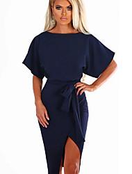 preiswerte -Knielanges, figurbetontes Kleid für Damen Weinrosa Rot S M L XL
