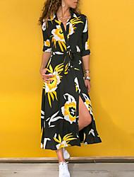 Недорогие -Жен. С летящей юбкой Платье Цветочный С принтом Рубашечный воротник Макси