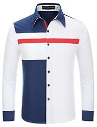 お買い得  -男性用 パッチワーク シャツ レギュラーカラー カラーブロック コットン ホワイト L