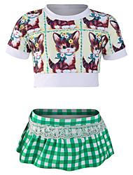 رخيصةأون -JIAAO للفتيات فساتين السباحة خفيف جدا (UL) يمكن ارتداؤها مريح نايلون كم قصير ملابس السباحة ملابس الشاطئ ملابس السباحة بقع قطعتين سباحة / قابل للبسط