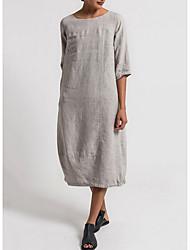 Χαμηλού Κόστους -Γυναικεία Βασικό Σε γραμμή Α Φόρεμα - Μονόχρωμο Μίντι