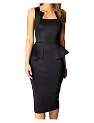 cheap -Women's Basic Bodycon Sheath Dress - Solid Colored Black Red Wine L XL XXL