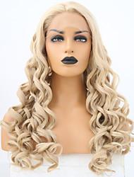 abordables -Perruque Lace Front Synthétique Bouclé Blond Partie médiane Or clair Cheveux Synthétiques 24 pouce Femme Ajustable / Résistant à la chaleur / Homme Blond Perruque Long Lace Frontale