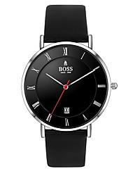 Недорогие -Муж. Нарядные часы Кварцевый Кожа Черный 30 m Защита от влаги Аналоговый Классика Простые часы - Черный Один год Срок службы батареи / Нержавеющая сталь