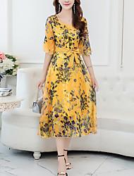 preiswerte -Damen Boho Chiffon Kleid - Druck, Geometrisch Midi