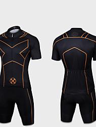 お買い得  -男性用 女性用 半袖 ショーツ付きサイクリングジャージー - ブラック + 黄金 バイク 速乾性 スポーツ スーパーヒーロー マウンテンサイクリング ロードバイク 衣類 / 伸縮性あり