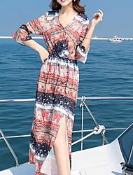 זול -מידי דפוס, פרחוני - שמלה סווינג בסיסי בגדי ריקוד נשים