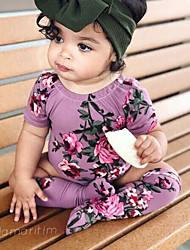tanie -Dziecko Dla dziewczynek Aktywny / Podstawowy Solidne kolory / Nadruk Nadruk Krótkie rękawy Poliester Jednoczęściowe Zielony