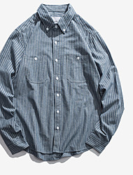 economico -camicia da uomo - collo camicia a righe