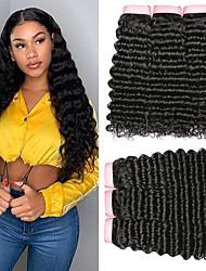 billige -4 pakker Brasiliansk hår Dyp Bølge Ubehandlet hår Menneskehår Vevet Bundle Hair En Pack Solution 8-28inch Naturlig Farge Hårvever med menneskehår Foss Lugtfri Myk Hairextensions med menneskehår Dame