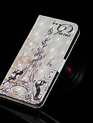 Недорогие -Кейс для Назначение Huawei Huawei P20 Pro / Huawei P20 lite / P10 Lite Кошелек / Бумажник для карт / со стендом Чехол Эйфелева башня Твердый Кожа PU