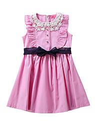 お買い得  -子供 女の子 ベーシック / かわいいスタイル パッチワーク パッチワーク / ドローストリング ノースリーブ 膝上 コットン / スパンデックス ドレス ピンク