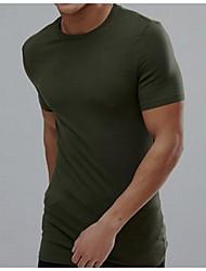 저렴한 -남자 티셔츠 - 솔리드 컬러 라운드 넥