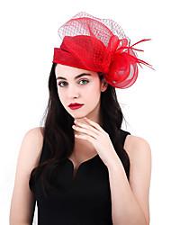 ราคาถูก -สุทธิ / ผ้าลินิน / ผ้าฝ้ายผสม fascinators / ดอกไม้ / เครื่องสวมศรีษะ กับ ขนนก 1 ชิ้น งานแต่งงาน / งานปาร์ตี้ / งานราตรี หูฟัง