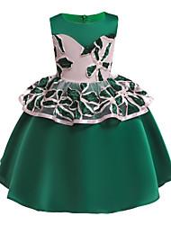 cheap -Kids / Toddler Girls' Vintage / Sweet Floral / Patchwork Sleeveless Knee-length Dress Green