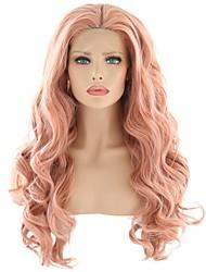 abordables -Perruque Lace Front Synthétique Ondulation naturelle Rose Avec Mèches Avant Bleu Cheveux Synthétiques 24 pouce Femme Résistant à la chaleur / Soirée / Homme Rose Perruque Longueur moyenne Lace