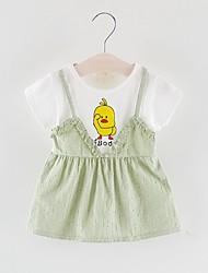 Χαμηλού Κόστους -Μωρό Κοριτσίστικα Βασικό Στάμπα Κοντομάνικο Πάνω από το Γόνατο Πολυεστέρας Φόρεμα Ανθισμένο Ροζ
