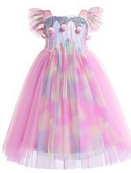 Χαμηλού Κόστους -Παιδιά Κοριτσίστικα χαριτωμένο στυλ Συνδυασμός Χρωμάτων Κοντομάνικο Μακρύ Πολυεστέρας Φόρεμα Ανθισμένο Ροζ