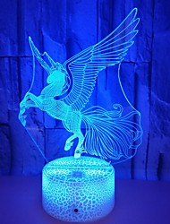 Недорогие -1шт Unicorn 3D ночной свет RGB USB Очаровательный / Новый дизайн / Меняет цвета <5 V
