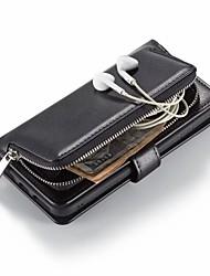 Недорогие -Кейс для Назначение Apple iPhone XS / iPhone XR / iPhone XS Max Кошелек / Бумажник для карт / Защита от удара Чехол Однотонный Твердый Кожа PU