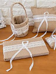 halpa -Wedding Guestbook / Pen Set / Ring Pillow Kanssa Pitsi Puuvilla / pellava