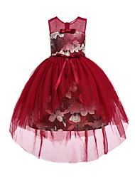 cheap -Kids / Toddler Girls' Cute / Chinoiserie Floral / Jacquard Mesh / Print Sleeveless Knee-length Polyester Dress Pink
