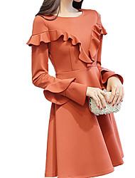 저렴한 -여성용 우아함 칼집 드레스 - 솔리드, 주름장식 무릎 위