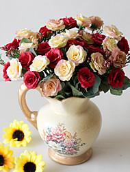 Χαμηλού Κόστους -Ψεύτικα λουλούδια 2 Κλαδί Κλασσικό Αξεσουάρ Στολής Ποιμενικό Στυλ Τριαντάφυλλα Αιώνια Λουλούδια Λουλούδι για Τραπέζι