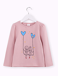 cheap -Kids Girls' Active / Basic Solid Colored Print Long Sleeve Cotton / Spandex Tee Pink