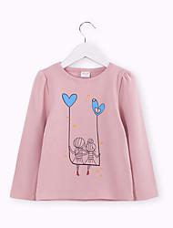 billige -Barn Jente Aktiv / Grunnleggende Ensfarget Trykt mønster Langermet Bomull / Spandex T-skjorte Rosa
